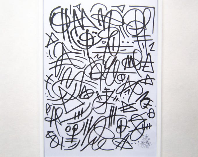 Printable graffiti sheet, ink pen abstract graffiti pattern to print
