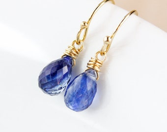 Blue Kyanite Teardrop Earrings - 925 Sterling Silver or 14K Gold Fill