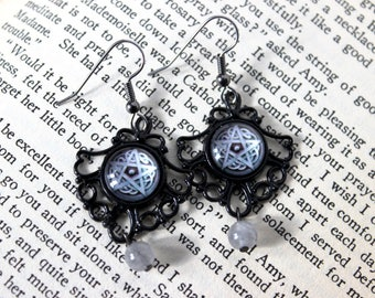 Storm Pentacle Cabochon Earrings with Cloudy Quartz Beads - Victorian Vintage Style Witchcraft Witchy Jewelry