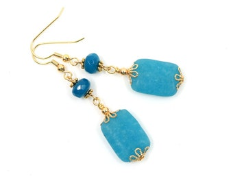 Blue dangle earrings, gold earrings, wife gift, Mothers day gift