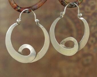 Large  Neo- Tribal- Hippie- Hoop Earrings - sterling silver