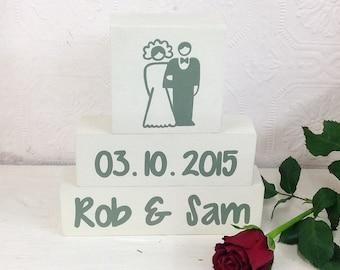 Personalised gifts, Wedding gifts, Shelf Decor Blocks, anniversary gift, gifts for couples, stacker blocks, shelf sitter, wedding keepsake
