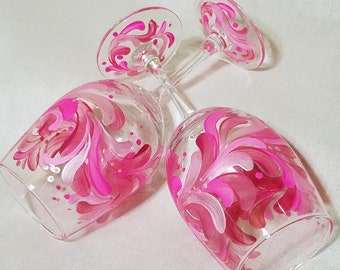 Pink Wine Glass, Passionate Pink Stem, Hand painted Pink Wine Glass