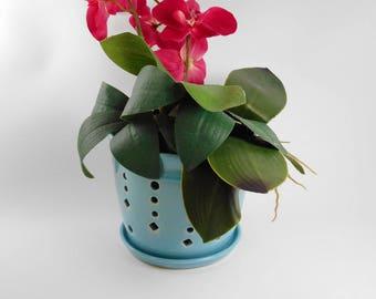 Large turquoise orchid pot - orchid cache pot - ceramic orchid pot - orchid planter - orchid pot V175