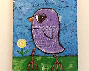 Original Painting of Bird titled Bird with an Attitude, Whimsical Bird, Fine Art, Folk Art, Woodland, Childs Art, Art