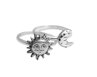 Sun and Moon Rings, Stacking Ring Set, Set of Two Silver Rings, Love you to the Moon, Stackable Rings, Silver Ring Set, Sun and Moon Ring St