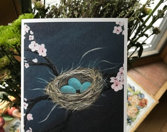 Birds Nest with Blue Eggs Print / Notecard / Just Because Card