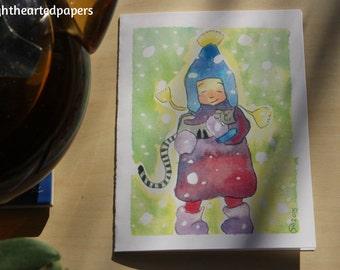 Winter Girl Greeting Card \\ Fille de l'hiver Carte de Voeux