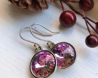 Swarovski Cyrstal Rivoli Earrings Sterling Silver, Pink Swarovski Crystal Earrings, Swarovski Earrings