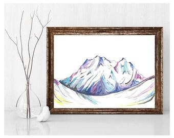 Instant Download Original Art Mountains Watercolor Print