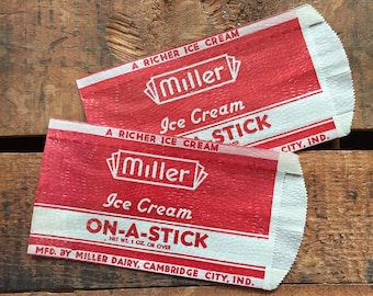 Vintage Ice Cream Glassine Paper Bags - Set of 2 - Miller Ice Cream, Party Bags, Treat Bags, Ice Cream Advertising, Ice Cream Packaging