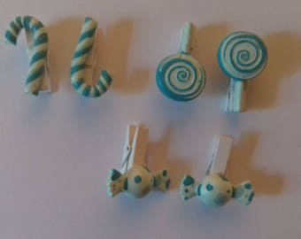 Set of 6 linen candy clips blue