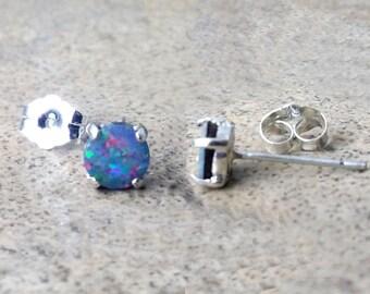 Genuine Opal 5mm doublet stud earrings in Sterling Silver - (October Birthstone).