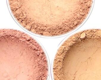 "Light Mineral Blush Set - ""Ballerina,"" ""Bakery,"" ""Blossom"" (3 x 4.5g Net wt Jars) Vegan Mineral Makeup Matte Shades"