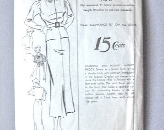 Spring Sale Vintage 1930s dress sewing pattern.  Advance 1451