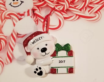Personalized Red & Green Baby Bear with Present Christmas Ornament