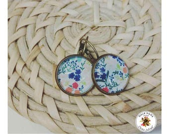 Mini Colorful Earrings Flowers - Cabochon Earrings - Antique Bronze Earrings
