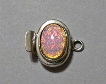 Vintage Sterling Silver Connector Clasp with Glass Opal  19x14mm (1)