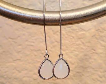 White opal glass drop earrings