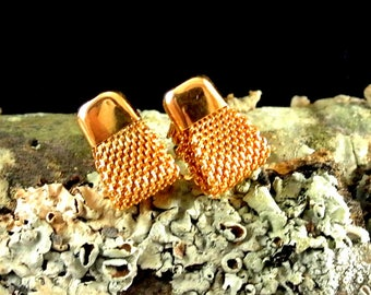 Sarah Coventry Gold Tone Mesh Stud Earrings with Lock Back Vintage Earrings Gold Mesh Earrings Sarah Coventry Studs