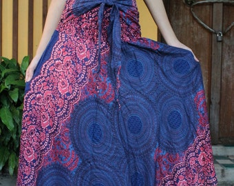 Breezy Boho Maxi Skirt Bohemian Clothing GypsyStyle Boho Chic Pink Rose One Size Fits Blue