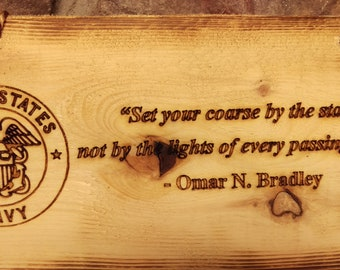 US Navy nspirational Quote Wood Sign