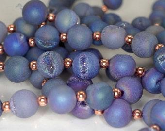 10MM Titanium Lavender Purple Agate Druzy Gemstone Grade AA Round Loose Beads 12 Bedas (90190905-B55)