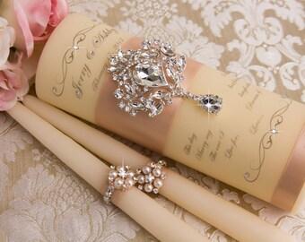 Blush Wedding Unity Candle set, Personalized Wedding Unity Candles Ceremony Crystal Unity Candles Set, Blush Wedding Candles Set