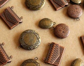 5 pc. Antiqued Bronze and Antiqued Copper Locket Grab Bag | LOC-063