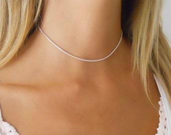 Silver Choker Necklace, Delicate Choker, Choker Collar Necklace, Sterling Silver Collar Necklace, Dainty Silver Necklace, Minimal Necklace