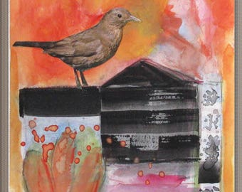 Original painting on watercolor paper, gouache and collage, Bird, Spirit, Butterfly