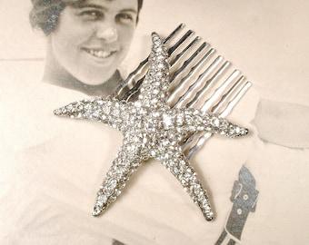 StarFish Hair Comb, Silver Rhinestone Star Fish Bridal Hair Accessory, Seashell Shell Destination Beach Wedding Head Piece Art Deco Style