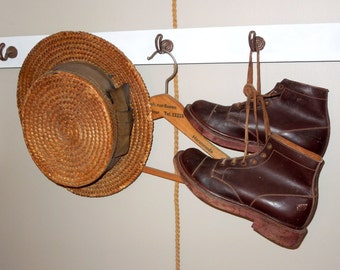 Antique Leather Boys Shoes wooden soles, French Vintage, hallway Coat hanger Working Class Clog, Hand Made Shoes handmade collectible sabots