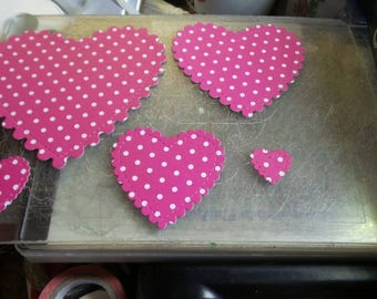 Pink polka dot heart die cuts, heart die cuts, pink polka dot, valentine