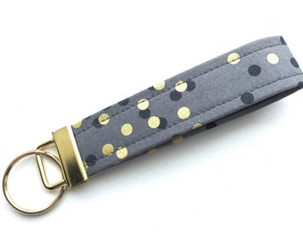 Ombré Charcoal Gray Gold Dots Key Chain Wristlet Key Fob Gold Colored Hardware Unique Wristlet Key Fob Ombre Confetti Fabric