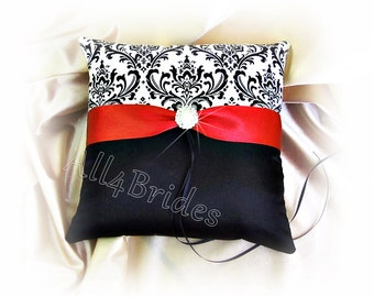 Red and black wedding ring pillow, damask wedding ring bearer cushion.