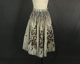 vintage 50s Circle Skirt - 1950s Novelty Print Leaves Metallic Gold Sequin Circle Skirt Sz XS
