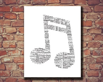 Gift for Music Lover, Music Note Print, Music Note, Art, Music Teacher, Print, Classical, Wall Decor, Wall Art, Nursery, Orchestra, Band