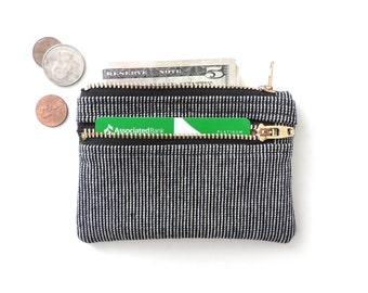 Zip Wallet Pouch Double Zipper Coin Purse Black Stripe