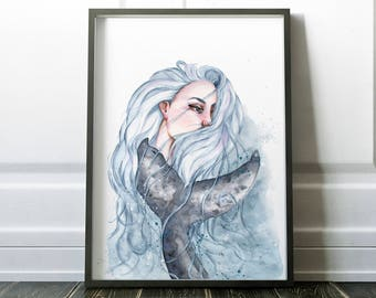 Woman Whale Print, Surreal Painting Print, Whale Painting, Portrait Fantasy Art, Humpback Whale Print, Woman Fantasy Art, Whale Tail Print
