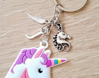 Handmade Personalised Cartoon Soft Large Unicorn Head with Initial Feather & Silver Unicorn Charms Keyring Bag Charm
