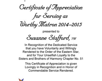OES Certificate of Appreciation Past Worthy Matron and Past Worthy Patron Eastern Star