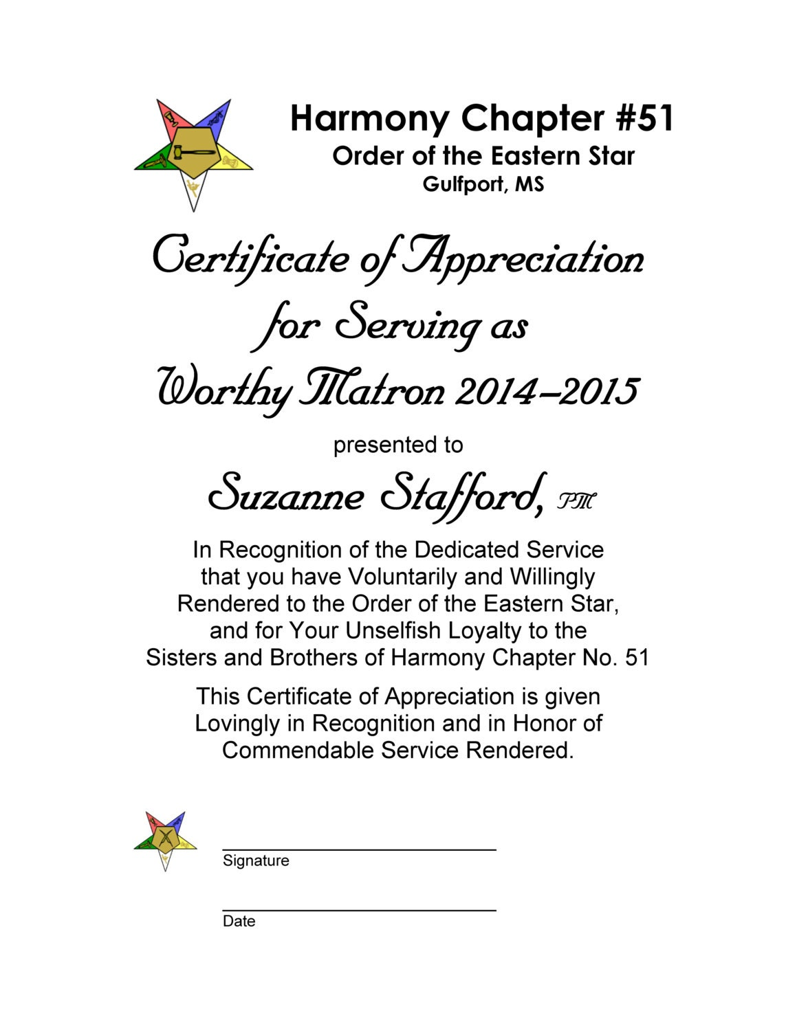 Oes certificate of appreciation past worthy matron and past zoom yelopaper Gallery