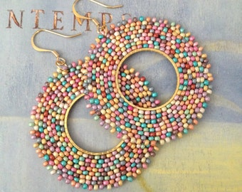 Boho Wildflower Hoop Beaded Dangle Earrings Statement Jewelry