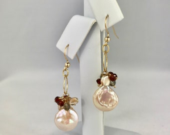 Gold beaded mother of pearl earrings