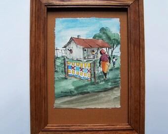Willoweise Langham - Original Mini Watercolor - Listed Artist - Fairhope Alabama - 1985 - Americana Style Miniature Art