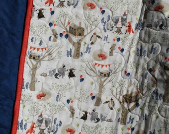 Newborn Baby Blanket - Fox and Friends have a Birthday Party in the Woods, Blue Back, Red Binding, Newborn Baby Quilt, Baby boy Blanket