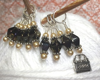 Six Pack Stitch Marker Set- Snag Free Beaded Stitch Markers - Gift for Knitters