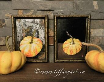 Pumpkin decor, set of 2, pumpkin paintings, Fall decor,Halloween decor,Thanksgiving decor,Autumn decor,Fall decoration,Halloween art,pumpkin