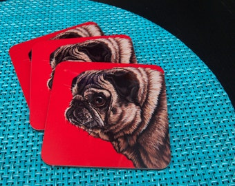 Colorful Pug Dog Coasters, Housewarming Gift for Pug Lover, Funny Kitchen and Barware, Pop Art Pug Coasters